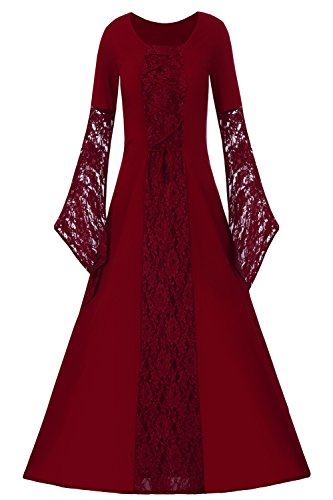 Red Renaissance Dress (EastLife Womens Renaissance Medieval Dresses Lace Up Vintage Floor Length Long Witch Dress)