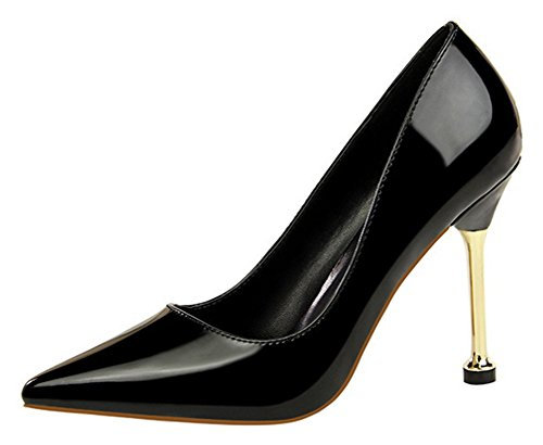 Aisun Womens Simple Professional Burnished Low Cut Dressy Pointed Toe Stiletto High Heel Slip On Pumps Shoes Black Bun0im