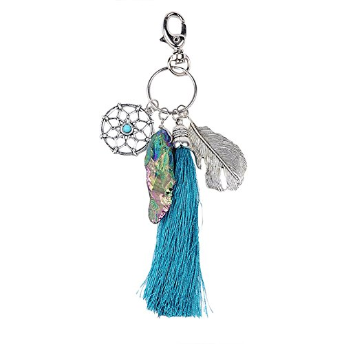 Mwfus Boho Handmade Dream Catcher Feather Quartz Stone Turquoise Keychain Keyring Keyfobs