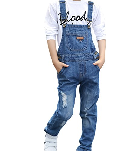 Boy Girl Overalls (Kid Little Big Girl Boy Distressed Ripped Denim Bib Overall Blue 6-7 Years)