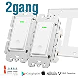 Alexa Smart Light Switch - Wifi Wall Switch, Remote Control Light Switches for Google Home Assistant Amazon Alexa and IFTTT, No Hub Required, Voice Control (2 Gang)