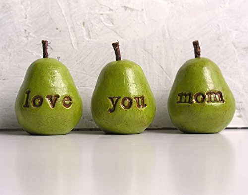 Gifts for moms … Green love you mom pears decor … gifts for her, gifts for women