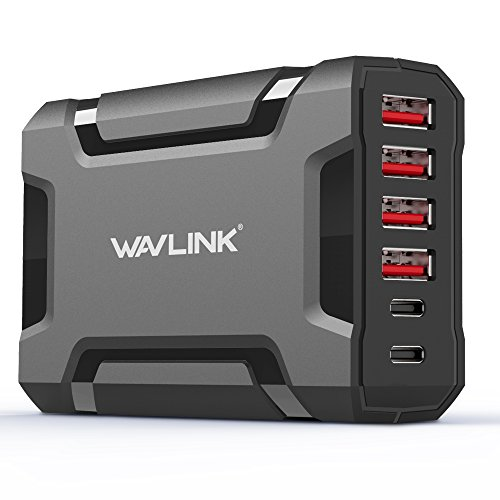 Price comparison product image 60W 6 Port USB C Wall Charger - USB 3.0 Multiple Fast Charge Desktop Charging Station Dock with Charging Cords for iPhones/Smart Phones/Tablets