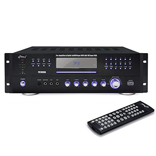 4 Channel Pre Amplifier Receiver - 1000 Watt Compact Rack Mount Home Theater Stereo Surround Sound Preamp Receiver W/ Audio/Video System, CD/DVD Player, AM/FM Radio, MP3/USB Reader - Pyle PD1000A (Pre Amplifiers Home Theater)