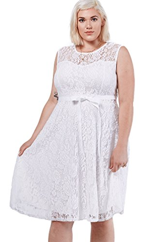 Womens Fashion Trendy Lace Fit Flare Sweatheart Bow Dress Plus Size USA WHT 3XL