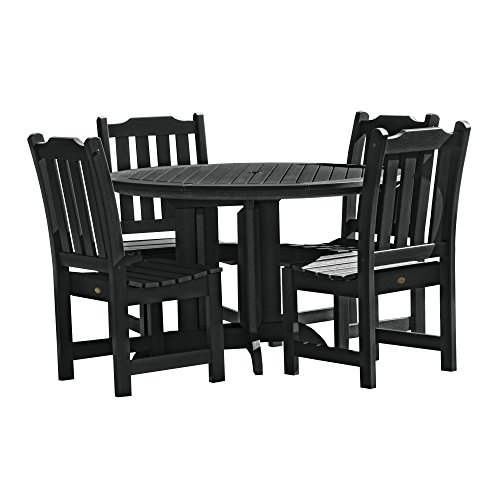 Highwood 5 Piece Lehigh Round Dining Set, Black