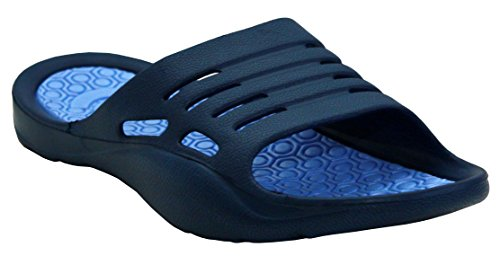 Womens Ladies Lightweight Slip On EVA Peep Toe Girls Summer Beach Pool Sliders Flip Flops Casual Mules Sandals Shoes UK Sizes 3-8 (UK 6, Navy/Blue)
