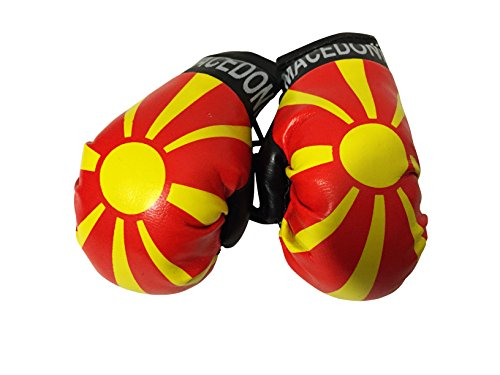 Flag Mini Small Boxing Gloves to Hang Over Car Automobile Mirror – Americas (Country: Macedonia)
