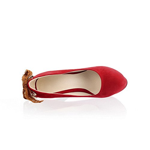 VogueZone009 Womens Closed Round Toe High Heel Platform Suede PU Frosted Solid Pumps with Bowknot, Red, 2.5 UK
