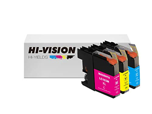 HI-Vision 3 Packs Compatible LC-103 LC103 XL High Yield Cyan,Yellow,Magenta Ink Cartridges Replacement for DCP-J152W,MFC-J245,J285DW,J450DW,J470DW,J475DW,J650DW,J870DW,J875DW Printer