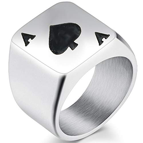 Jude Jewelers Stainless Steel Black Spade Ace Poker Signet Ring Cocktail Party Casino Biker (Silver, ()