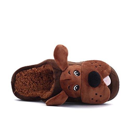 Inverno fankou cute cane elemento cartoon home giovane cotone e multi-colore opzionale in cotone leggero pantofole ,39, marrone