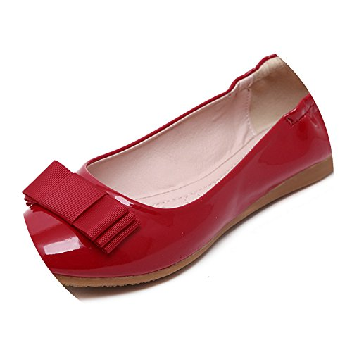 Flat Shoes Women Patent Leather Ballet Shoes Woman Round Toe Soft Ballerina Flats Ladies Casual Shoes,Red,4 ()