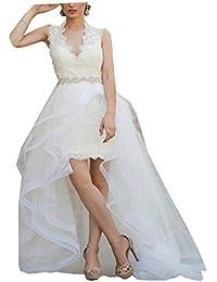 Prom Queen Womens Hi Lo Wedding Dresses Short Front Long Back Sexy Boho Wedding Dress