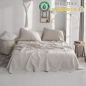 Simple&Opulence Belgian Linen Sheet Set 4PCS Stone Washed Solid Color(Full,Linen)