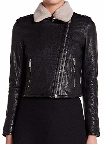 Doma Leather - Doma Leather & Shearling Fur Black Moto Jacket Size Medium