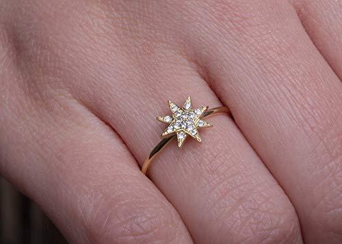 Diamond starburst ring, Starburst ring, Black diamond ring, Diamond Star ring, Celestial star ring, Celestial star