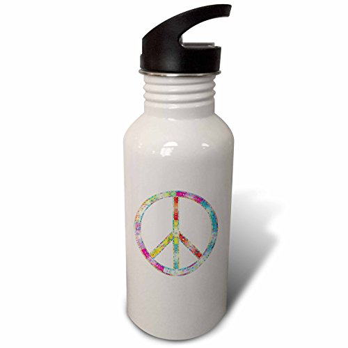 3dRose Metallic Prism Art - Image of Metallic Pastel Peace Symbol and Swirly Design - Flip Straw 21oz Water Bottle (wb_279951_2)