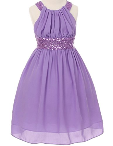 Price comparison product image Big Girls' Adorable Dazzling Sequin Pleated Chiffon Flowers Girls Dresses Lavender Size 10