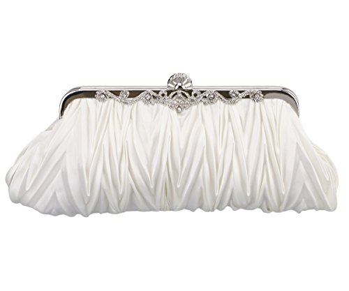 Charming Tailor Evening Bag and Clutch for Women Classic Satin Pleated Wedding Purse (Ivory)