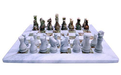 (Italian White and Greeen Marble Chessboard Scacchiera Handmade Classic Table Chess Set with Pawns 40x40cm 16in)