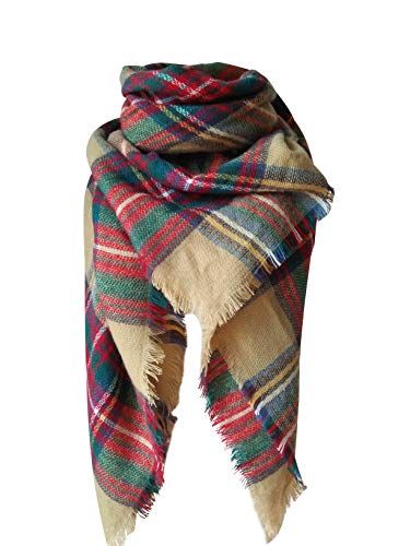 MOTINE Tartan Blanket Scarf Stylish Winter Warm Pashmina Wrap Shawl for Women (Khaki) (Woman Falls Out Of Plane And Lives)
