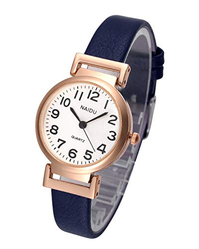 Top Plaza Womens Ladies Classic Simple Blue Leather Analog Wrist Watch Rose Gold Case Arabic Numerals Casual Dress Quartz Watches