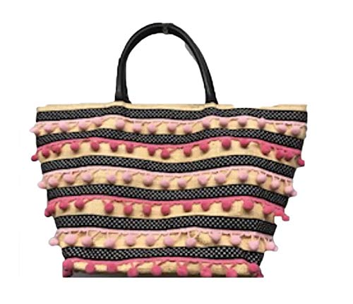 - Clever Carriage Company Handmade Habadashery Grois Groin Ribbon and Pom Pom Raffia Shopper
