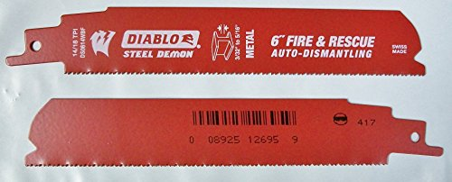 6'' 14/18 TPI Fire & Resuce Auto-Dismantling Sawzall Blade - Lot of 10 Blades by Diablo