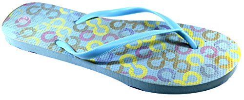 OCTAVE® Ladies Summer Beach Wear Flip Flops Collection Various Styles & Colours Links Design - Light Blue gpy4Dqvo