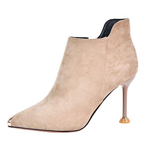 HOESCZS Professional Stiefelies Female 2019 Neue Spitze Stiletto Heels Metallkopf Martin Stiefel bloße Stiefel