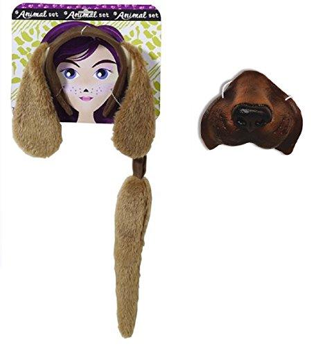 (Brown Dog Kit Floppy Ears Headband Mini Nose Mask Tail Animal Puppy Pet Costume)