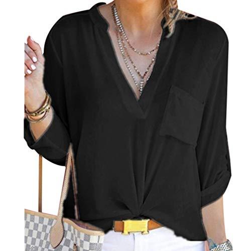 Taschino Chiffon in Donna con Casual Top Camicetta da Nero V Camicie a Maniche Scollo Lunghe Hibote 60pP6v