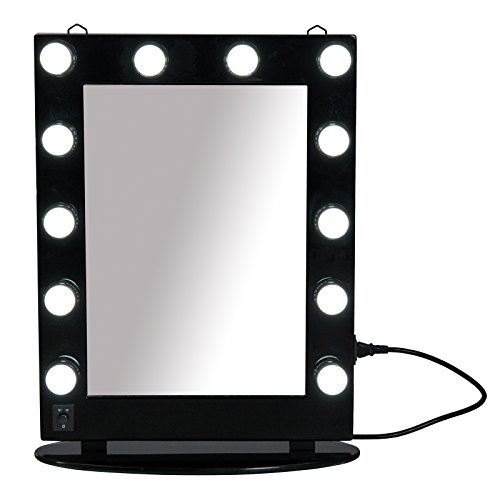 Mercury Wall Vanity - HOMCOM Hollywood Style Vanity Mirror with Dimmable LED Bulbs, Lighted Makeup Mirror with Detachable Base, Wall Mounted LED Illuminated Cosmetic Mirror - Black