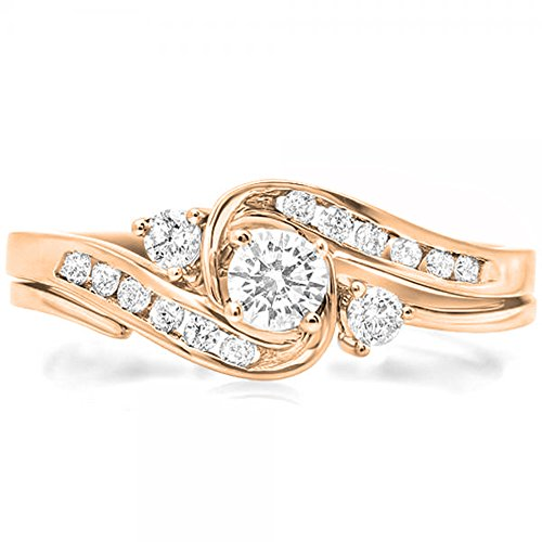 (Dazzlingrock Collection 0.50 Carat (ctw) 10K Diamond Ladies Swirl Bridal Engagement Ring Set 1/2 CT, Rose Gold, Size 6)