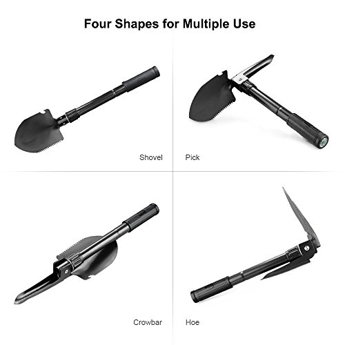 OUTLIFE Foldable Military Shovel Mini Emergence Survival Compass Spade Entrenching Tool with Carrying Pouch for Camping, Hiking, Backpacking, Gardening with Rubber Handle