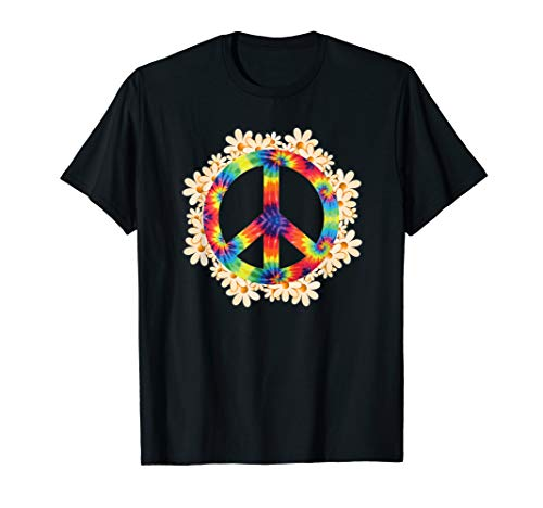Peace Sign Hippie Shirt For Women Daisy Tie-Dye Peace Sign