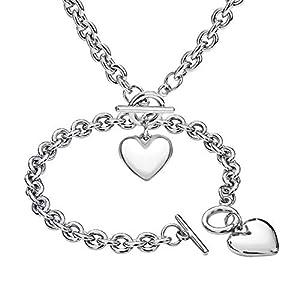 Heart Pendant Necklace and Bracelet Chain Set,Stainless Steel Love Heart Pendant Choker and Bracelet,Gift for Women & Girls(Sliver)