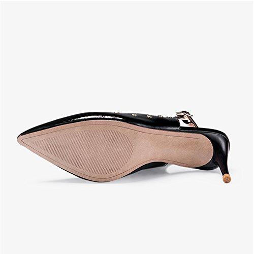 Bsico Cabeza Verano Altos color El Del nico 39 Jianxin Mujer La Zapatos O Zapato Tacones Moda Con Puntiaguda Y Negro Primavera Tama Simple De aqwIOzw
