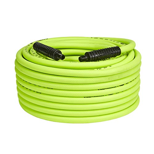 Flexzilla Air Hose, 3/8 in. x 100 ft, 1/4 in. MNPT Fittings, Heavy Duty, Lightweight, Hybrid, ZillaGreen - - Air 100