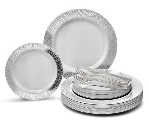 OCCASIONS 720 PCS / 120 GUEST Wedding Disposable Plastic Plate and Silverware Combo Set (Diamond White/Silver Plates, Silver Silverware)