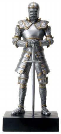 Standing Knight Figurine - Silver Colored Italian Knight Design Standing Statue in Full Armor