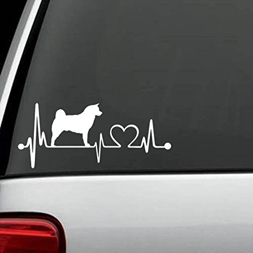 K1050 Akita Dog Heartbeat Lifeline Monitor Decal (Akita Sticker)