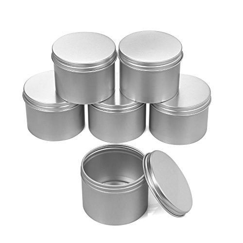 6 PCS 3 OZ Aluminum Metal Tin Jars , Candles Candy Empty Con