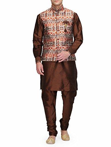 Ahhaaaa Mens Ethnic Wear Silk Kurta And Churidar With Cotton Silk Nehru Jacket for Mens by ahhaaaa