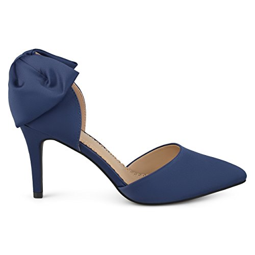Brinley Co. Womens Satin D'Orsay Pointed Toe Bow Pumps Navy, 8 Regular US