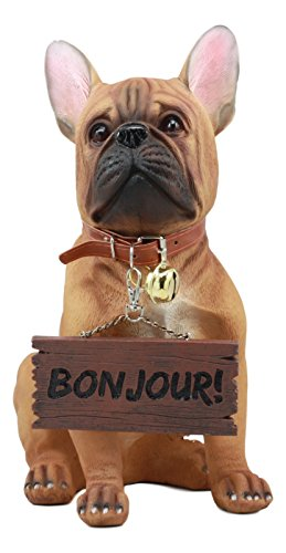 Ebros Realistic French Bulldog Statue With Jingle Collar Welcome Sign Pedigree Dog French Bulldog Guest Greeter Patio Decor Sculpture