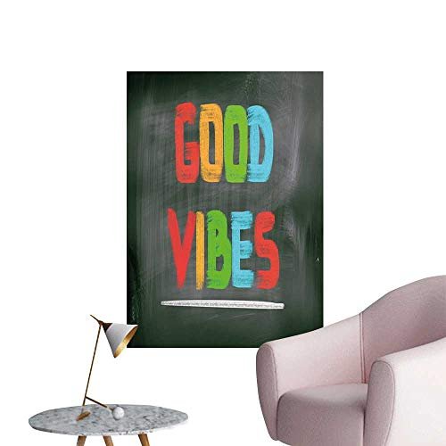 Good Vibes Wall Mural Wallpaper Stickers Colorful Chalk Writing on Blackboard Image Positivity Optimism and Happiness Children's Room Wall Multicolor W32 x -