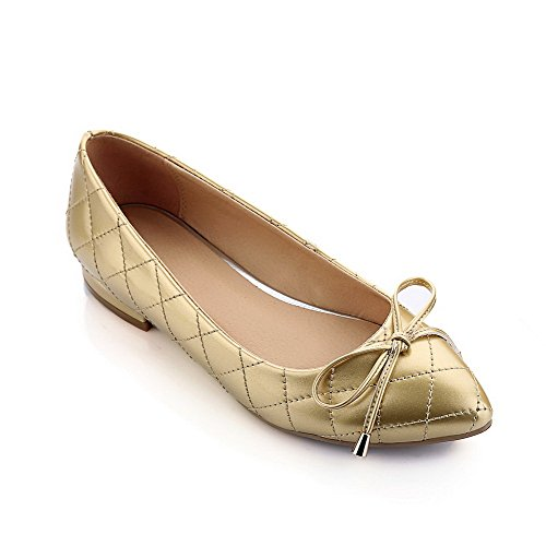 Amoonyfashion Womens Pointed Toe Closed Toe Low Heels Pumps with Butterfly-Knot and Square Heel Gold bC2zDEz3go