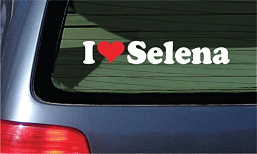 I Love Selena Vinyl Decal - White with A Red Heart Sticker
